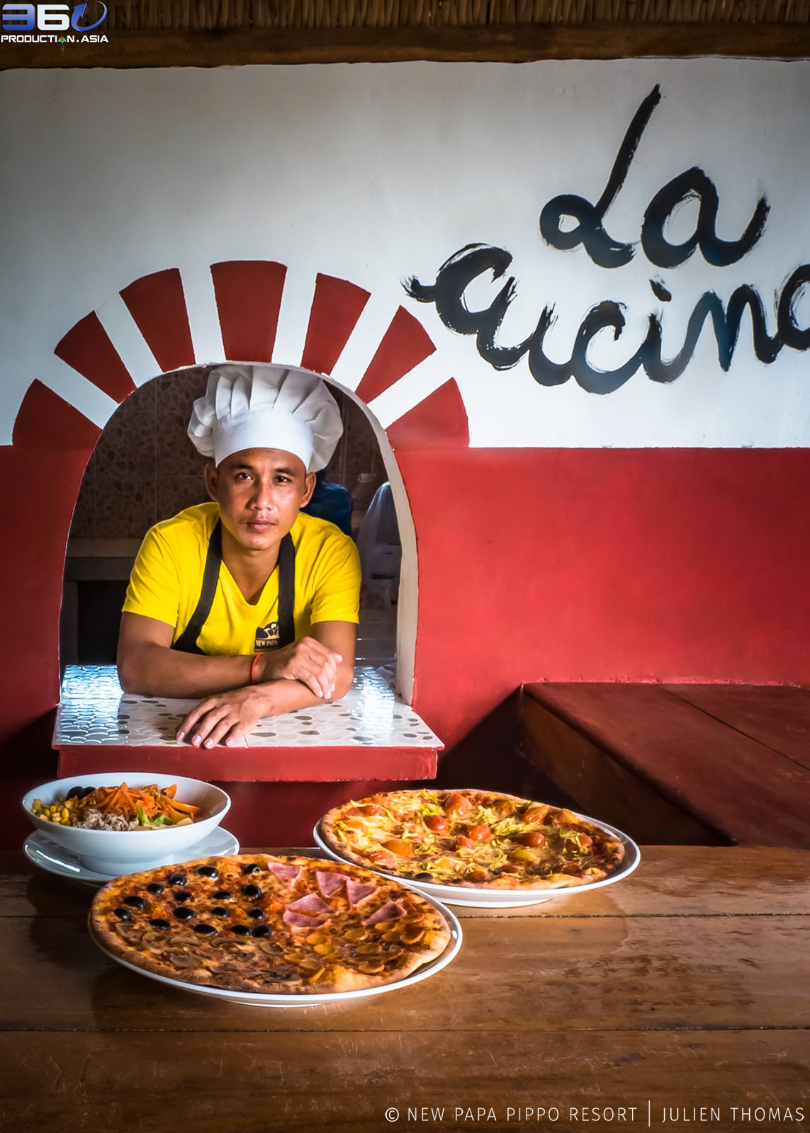The Chef and hand made pizzas.