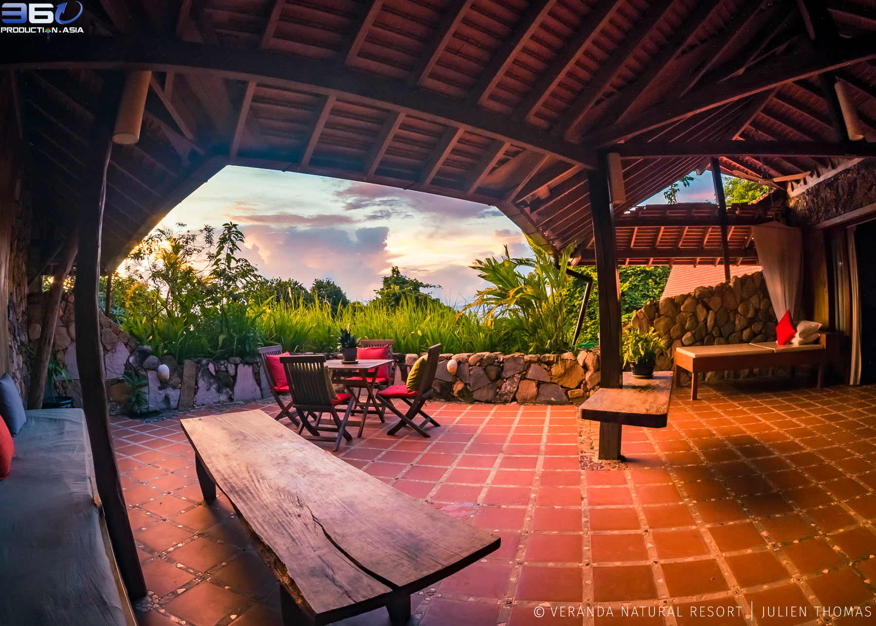 Private terrace facing the Gulf of Thailand - Pacific Ocean during sunset with commodities for the guests in Veranda Natural Resort, Kep - Cambodia.
