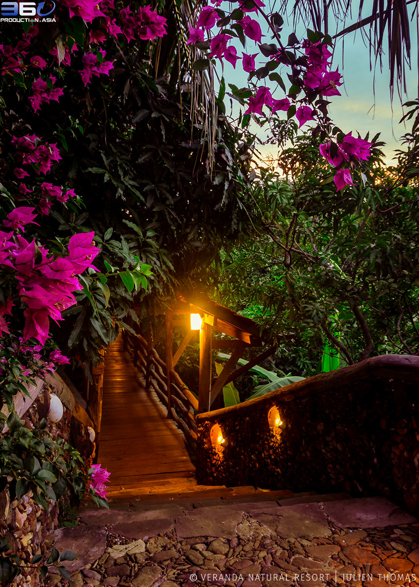 Walkway through the resort