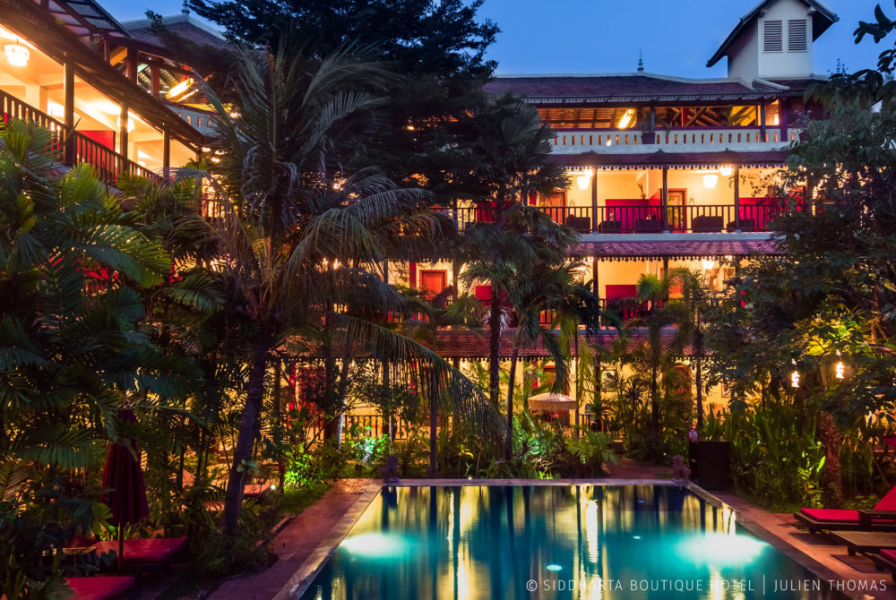Swimming pool areaa in Siddharta Boutique Hotel, Siem Reap - Cambodia.